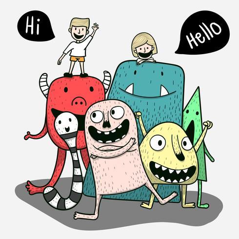 Ogni mostro amico è felice in una vacanza speciale. Concetto di arte di doodle, pittura illustrazione vettore