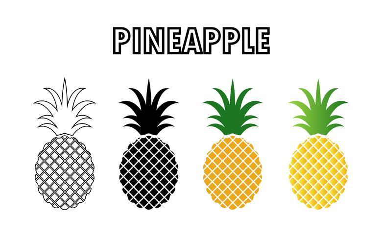 raccolta di icone di ananas isolato su sfondo bianco. vettore
