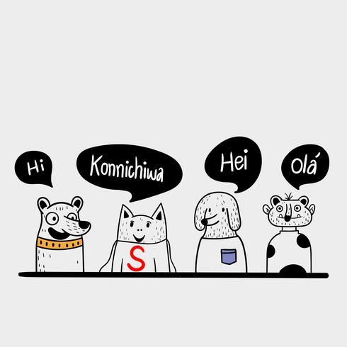 Quattro amici hanno salutato la lingua locale, vettore