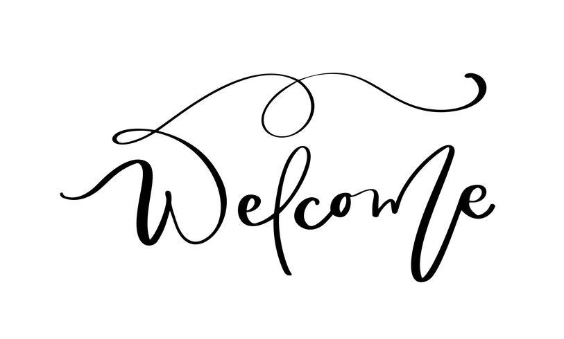 Benvenuto testo lettering vettoriale su sfondo bianco. Parole scritte a mano di design decorativo in caratteri ricci. Grande design per un saluto biglietto d'auguri di nozze o una stampa