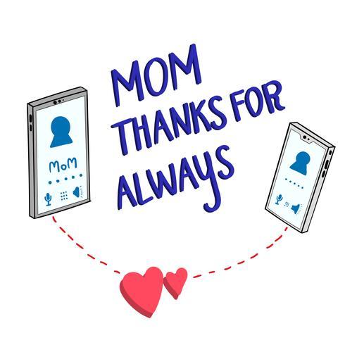 Entrambi i telefoni parlano tra madre e figlia vettore