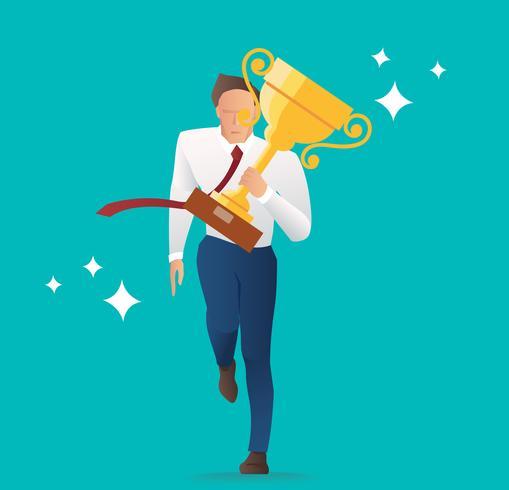 uomo d'affari che tiene il trofeo d'oro, il successo e il concetto felice, illustrazione vettoriale
