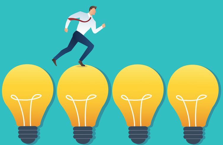 illustrazione dell'uomo d'affari corrente sul concetto di idea della lampadina vettore