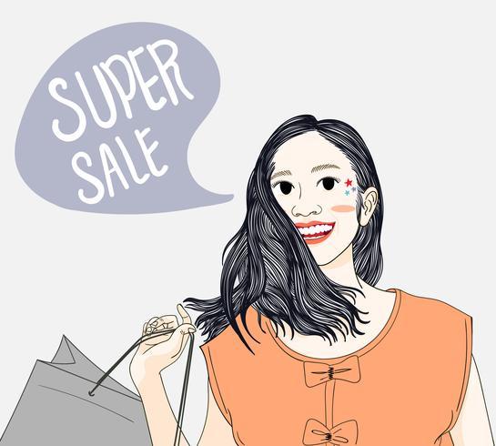 Le donne fanno shopping nei grandi magazzini durante il prezzo scontato vettore