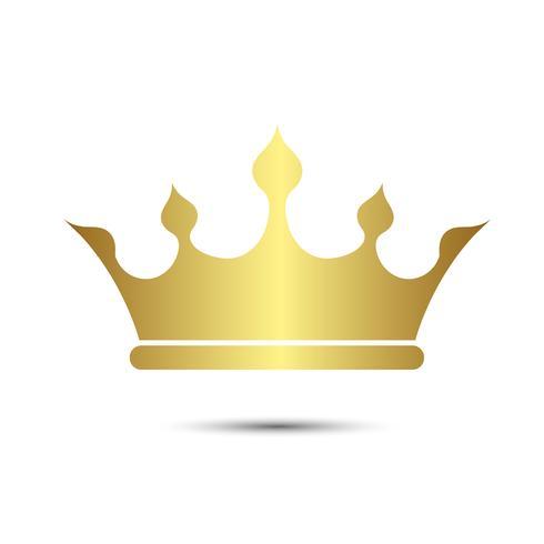 Simbolo della corona con l'isolato di colore dell'oro su fondo bianco, illustrazione di vettore