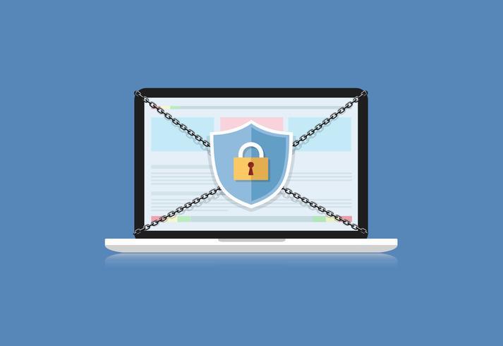 Il concetto è la sicurezza dei dati. Schermo sul computer Il laptop protegge i dati sensibili. Sicurezza di Internet. Illustrazione vettoriale