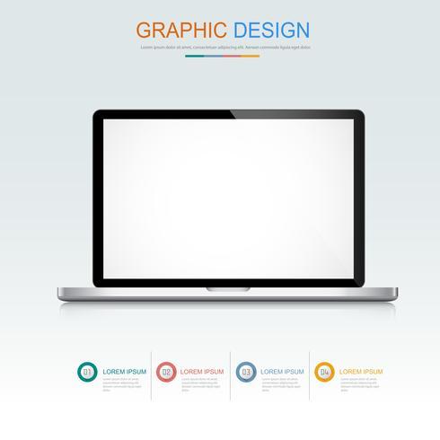 Il computer portatile del computer con lo schermo in bianco, 3d e l'illustrazione piana di progettazione di vettore per l'insegna o la presentazione di web hanno usato