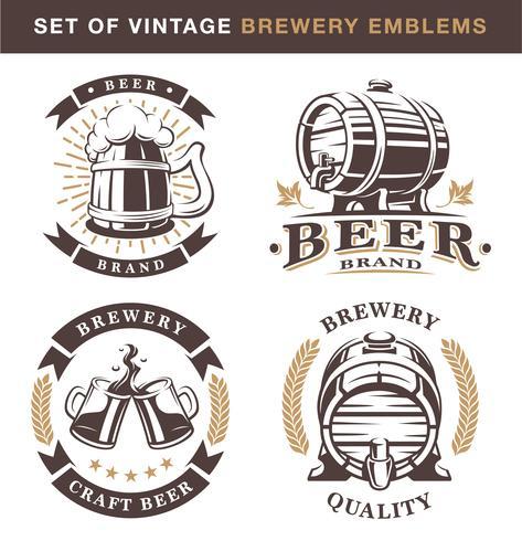 ? emblemi di fabbrica di birra intage vettore