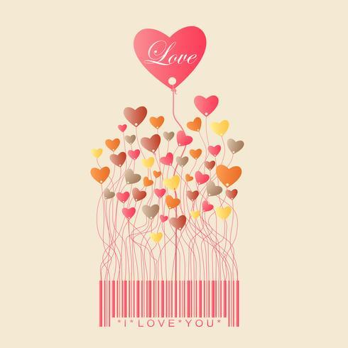 Design per San Valentino con colore pieno Cuore crescere dal codice a barre, illustrazione vettoriale