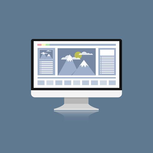 computer Desktop con programma di progettazione grafica su schermo latop, scrivania design vettoriale piatta per graphic designer o Photo grapher
