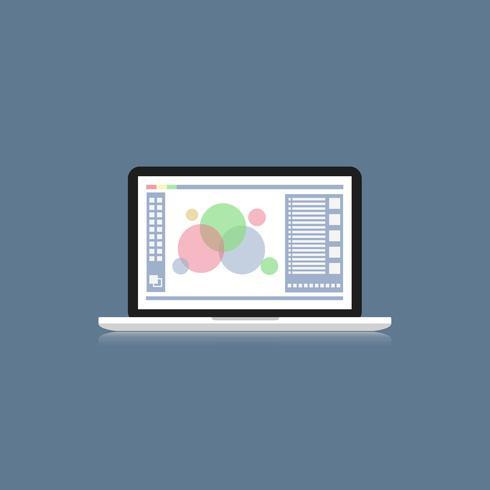 computer portatile con programma di progettazione grafica sullo schermo latop, scrivania design vettoriale piatta per graphic designer o Photo grapher