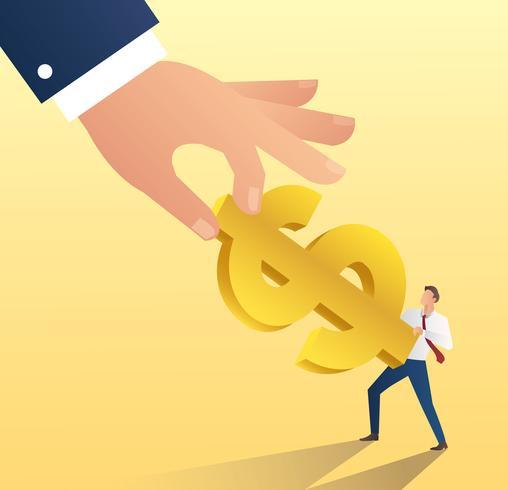 icona di dollaro grande mano tenere con uomo d'affari. illustrazione vettoriale di denaro cheat