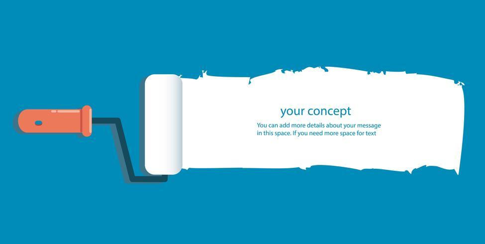 rullo di vernice isolato con spazio per testo e sfondo blu vettore