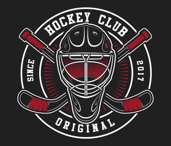 Casco da hockey con bastoni vettore