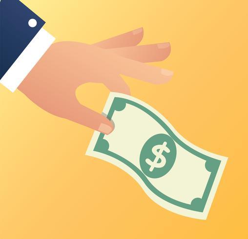 mano che tiene il denaro dollaro illustrazione vettoriale