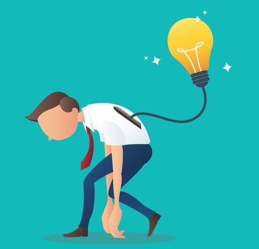 lampadina che inserisce nella parte posteriore dell'uomo d'affari, concetto di affari dell'illustrazione creativa di vettore di idea