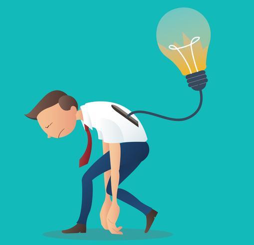 crepa la lampadina nella parte posteriore dell'uomo d'affari, nel commercio, nel simbolo di sconsiderato o nel problema nel concetto di pensiero vettore