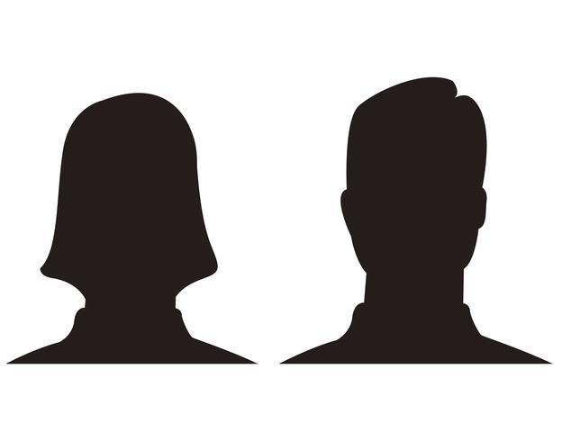 vettore di simbolo dell'icona dell'avatar della donna e dell'uomo