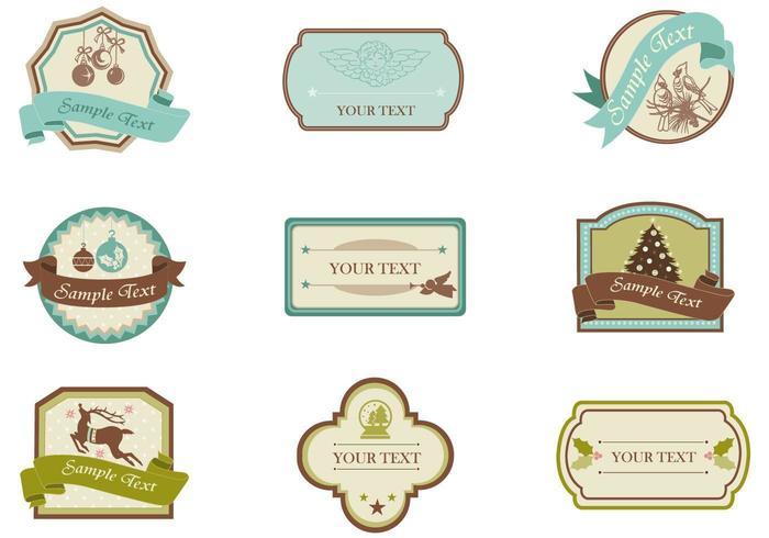 Pacchetto di etichetta di Natale vintage e etichetta vettoriale