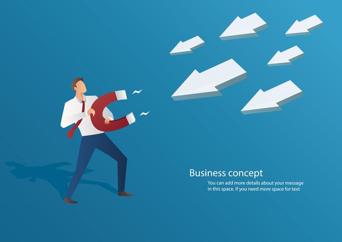 concetto di affari uomo d'affari che attira l'icona freccia con un grande magnete illustrazione vettoriale