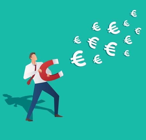 concetto di business. uomo d'affari che attira l'euro icona con l'illustrazione di vettore del magnete