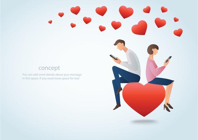 uomo e donna che per mezzo dello smartphone e sedendosi sul cuore rosso con molti cuori, concetto di amore online vettore
