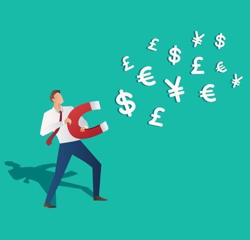 concetto di business. uomo d'affari che attira l'icona dei soldi con l'illustrazione di vettore del magnete