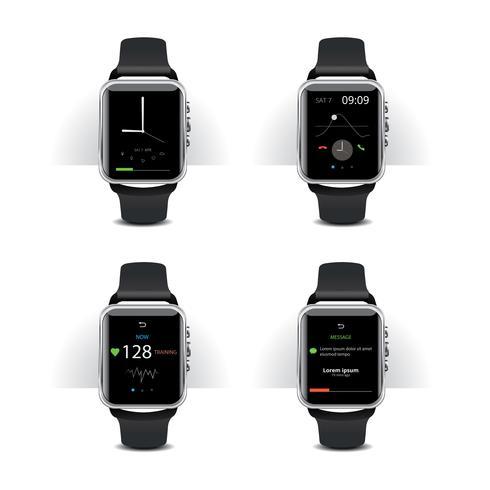 L'orologio astuto con l'esposizione digitale ha messo l'illustrazione di vettore