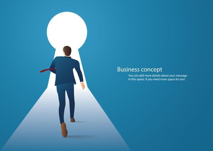 illustrazione di concetto di affari infografica di un uomo d'affari che cammina nel buco della serratura con luce intensa vettore