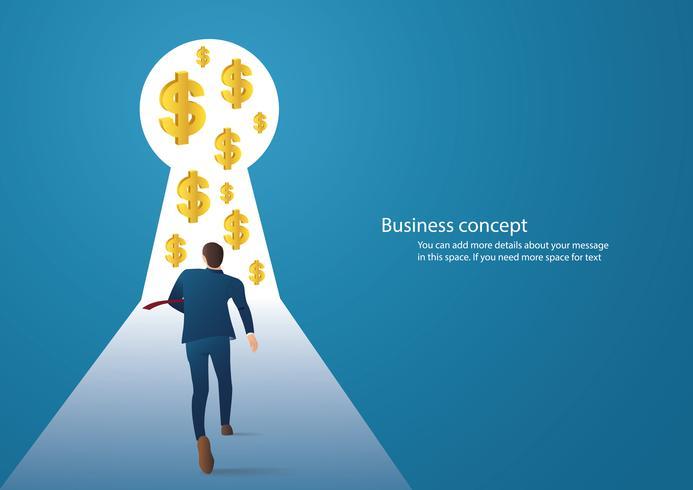 illustrazione di concetto di affari infographic di un uomo d'affari che cammina nel buco della serratura con l'icona del dollaro vettore