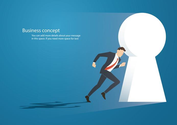 Illustrazione di concetto di affari di un uomo d'affari che si imbatte nel vettore del buco della serratura