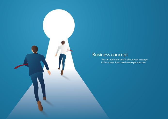 Un'illustrazione di concetto di affari di due uomini d'affari che si imbattono nel vettore del buco della serratura