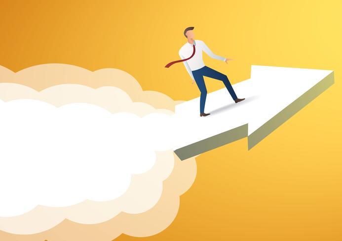 uomo d'affari sull'icona della freccia e sul fondo giallo, vettore dell'illustrazione di concetto di affari