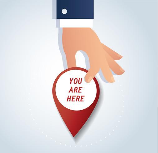 mano che tiene icona pin, locat rosso icona illustrazioni vettoriali