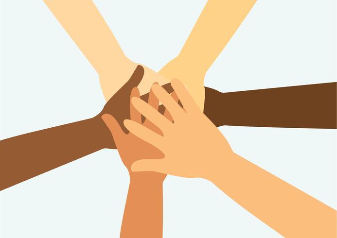 persone che mettono le mani insieme vettoriale