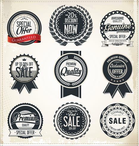 Collezione vintage distintivi ed etichette vintage vettore