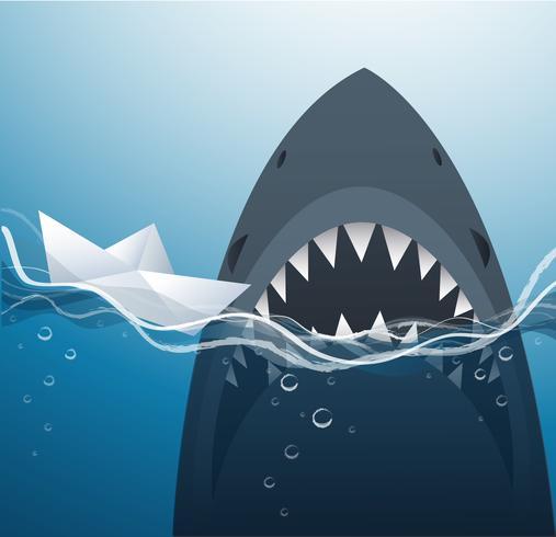 barca di carta e squalo nell'illustrazione blu di vettore del fondo del mare