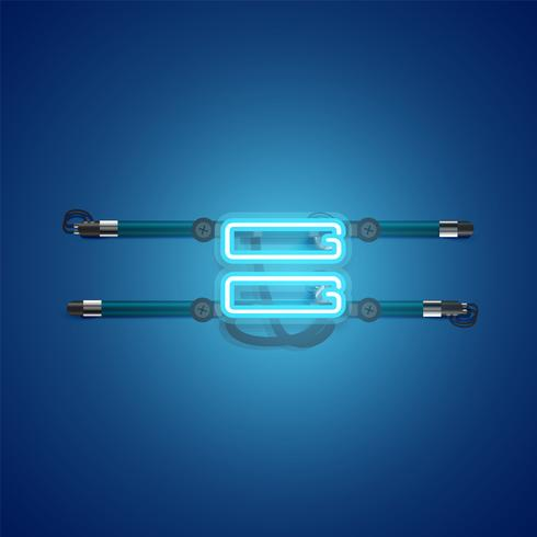 Charcter al neon blu d'ardore realistico, illustrazione di vettore