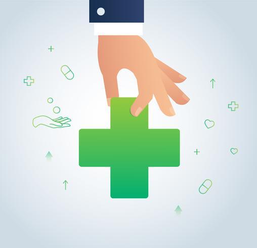 mano che tiene il vettore medico segno icona, il concetto di illustrazione sanitario