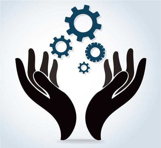 mani che tengono vettore dell'icona di logo di disegno dell'ingranaggio