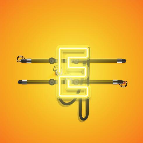 Charcter al neon giallo d'ardore realistico, illustrazione di vettore