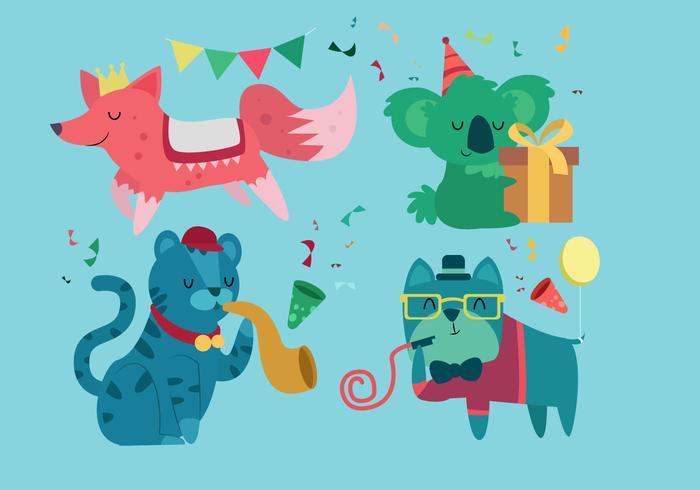 L'illustrazione sveglia di vettore dei caratteri di compleanno animale