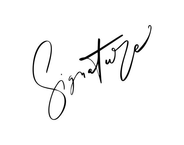 Firma manuale per documenti su sfondo bianco. Illustrazione di vettore di lettering calligrafia disegnata a mano