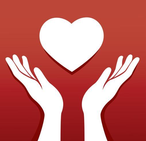 le mani pregano in un vettore di forma del cuore