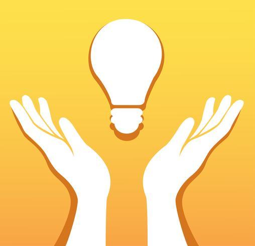 mani che tengono il vettore icona lampadina, concept creativo