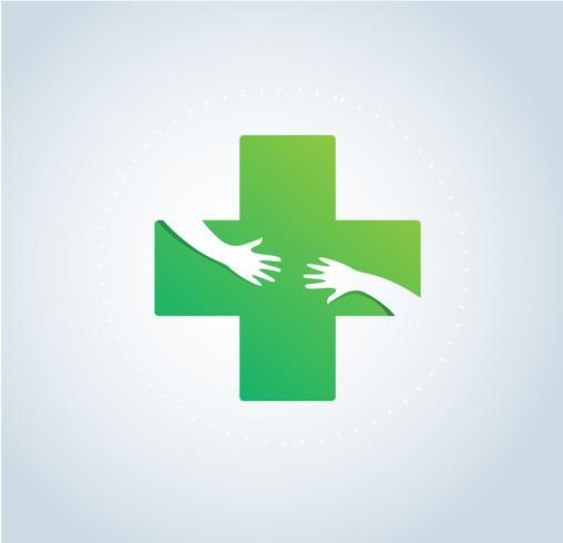 mani abbraccio in ospedale icona design, assistenza sanitaria e medico logo simbolo vettoriale