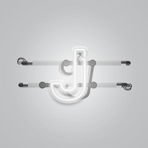 Realistico al neon grigio incandescente charcter, illustrazione vettoriale