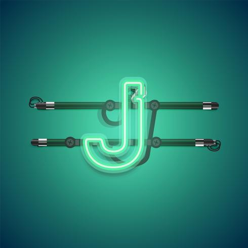 Charcter al neon verde d'ardore realistico, illustrazione di vettore