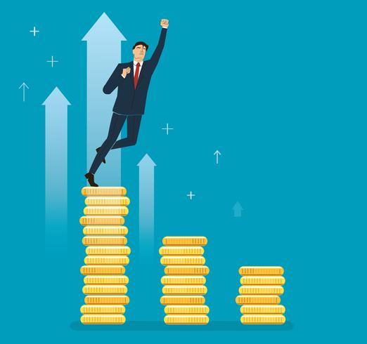 un uomo d'affari che celebra sul grafico della moneta, illustrazione di vettore di concetto di affari