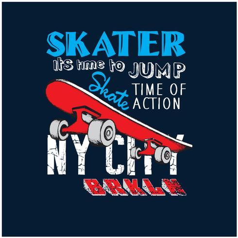 Illustrazione di vettore dei pattinatori di New York City. Stampa di vettore di skateboard.